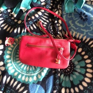 Pink Charming Charlie with crossbody strap.